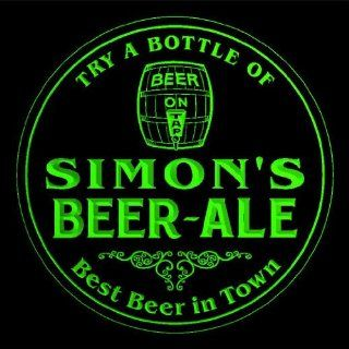 4x ccpn0410 g SIMON'S Best Beer & Ale in Town Bar Pub 3D engraved Coasters: Kitchen & Dining