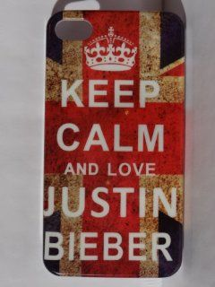 Justin Bieber   Keep Calm and Love Justin Bieber   Hard Case Cover for iPhone 4 4g & 4s