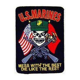 "USMC Marine Corps Military Embroidered Iron On Patch   Skull Face w/ Cross Guns ""Mess With The Rest, Die Like The Rest"" Applique: Novelty Baseball Caps: Clothing"