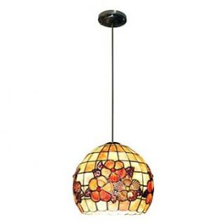 80w Artistic Tiffany Pendant Light with Colorful Nature Shell Material Integrated Shade Down Vintageworld   Close To Ceiling Light Fixtures