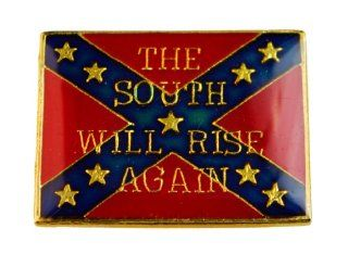 "Confederate Flag ""The South Will Rise Again"" 1 inch hat or lapel pin D26: Jewelry"