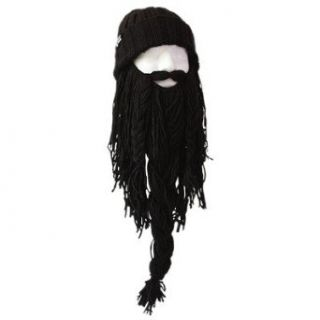 Beard Cap   Wear Your Very Own Beard & Mustache!!   Perfect for Duck Dynasty Fans, Skiers, Snowboarders, Sports Fans and People Who Enjoy All Types Of Outdoor Activities! (One size fits (almost) all, Black Barbarian Roadie): Costume Headwear And Hats: