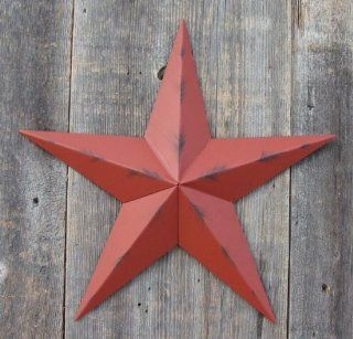 53 Inch Heavy Duty Metal Barn Star Painted Rustic Barn Red. The Rustic Paint Coverage Starts with a Black or Contrasting Base Coat and Then the Star Color Is Hand Painted on Top of the Base Coat with a Feathering Look Which Gives the Star a Distressed Appe