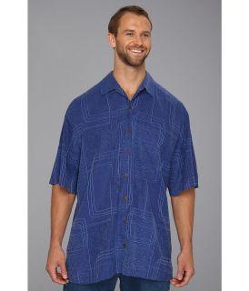 Tommy Bahama Big & Tall Big Tall Island Geo Camp Shirt Mens Short Sleeve Knit (Blue)