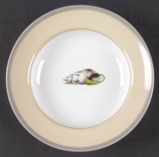 Fitz & Floyd Coquillier Large Rim Soup Bowl, Fine China Dinnerware   Tan Rim,Gra