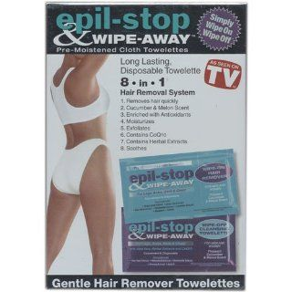 Epil Stop & Wipe Away, The Safer Faster Way To Hair Free Skin, Includes 10 Pre Moistened Wipe On Hair Remover, 10 Pre Moistened Wipe  Off Moisturizer, 2 Pre Moistened Sensitive Wipe on, 2 Pre Moistened Sensitive Wipe off As Seen On TV Health & Pe