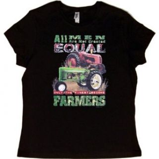 JUNIORS T SHIRT  RED   LARGE   Not All Men Are Created Equal Only the Finest Become Farmers   Farming Tractor Clothing