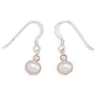 White Cultured Freshwater Pearl Earrings on Sterling Silver French Wire: West Coast Jewelry: Jewelry