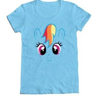 Mighty Fine Women's My Little Pony Rainbow Dash Big Face T Shirt: Clothing