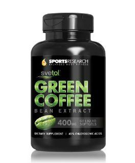 Green Coffee Bean Extract 400 Mg with Clinically proven SVETOL. Natural Weight Loss Supplement Containing 400 Mg of Extra Virgin Coconut Oil Per Serving. 60 Fast acting Decaffeinated Liquid Softgels Health & Personal Care