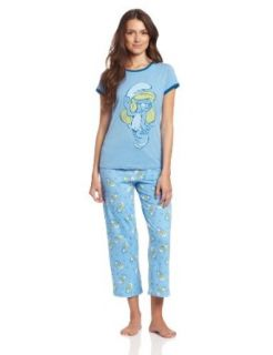 Briefly Stated Women's Smurf Tee/Capri Set, Blue, Small: Clothing