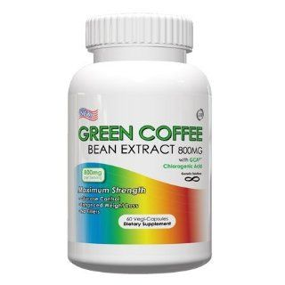 Green Coffee Bean Extract With GCA   800mg Per Serving, 60 Vegetarian Capsules, No Fillers, 50% Chlorogenic Acids, (Contains GCA) Health & Personal Care