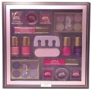 Petite Treats Honey Honey Sparkly Pinks Purples and Reds Children's Play Makeup Large Deluxe Gift Set Great for Girls Birthday Party Favor Contains 4 Square Lip Pots 2 Round Lip Pots 2 Lip Gloss Wands 2 Eyeshadow Palette 4 Nail Polish 1 Toesie 1 File (