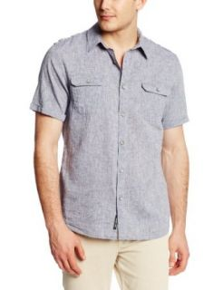 DKNY Jeans Men's Short Sleeve End On End Linen Cotton Shirt, Blue, Large at  Men�s Clothing store