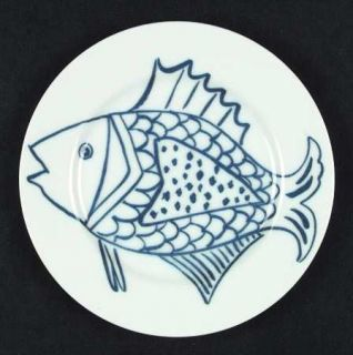 Fitz & Floyd Les Fish Blue Salad Plate, Fine China Dinnerware   4 Different Blue