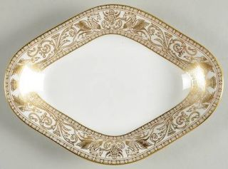 Wedgwood Florentine Gold White Body Relish, Fine China Dinnerware   Gold Outline