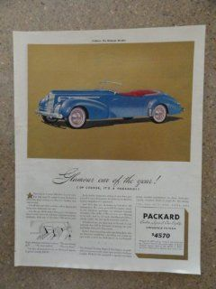 1940 Packard Convertible Victoria, Vintage 40's full page print ad (blue car/custom super 8 one eighty/victoria) Original vintage 1940 Collier's Magazine Print Art.