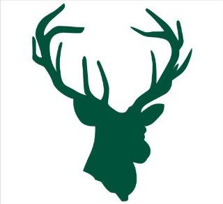 "Deer Head Antlers Hunting Decal Sticker Laptop, Notebook, Window, Car, Bumper, EtcStickers 4.5""x5.5""in. in GREEN Exterior Window Sticker with Free Shipping: Everything Else"