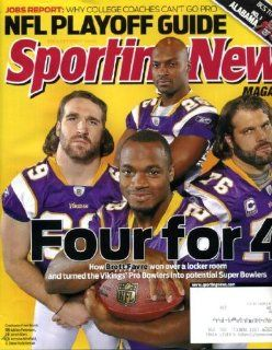 Sporting News January 4 2010 Adrian Peterson & Jared Allen & Antoine Winfield & Steve Hutchinson/Minnesota Vikings on Cover, NFL Playoff Guide, Alabama vs Texas BCS, The Brett Favre Effect, Urban Meyer/Florida, Colt McCoy, Bill Self/Kansas: Spo