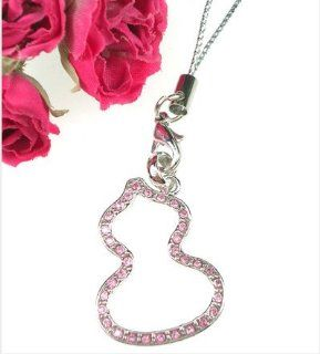 Pink Crystal Pear Outline Fruit Cell Phone Charm Strap: Everything Else