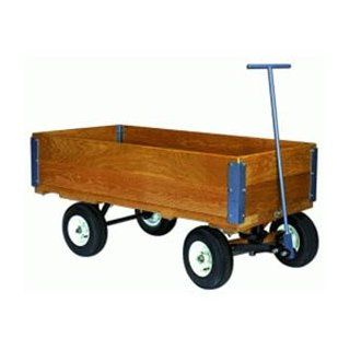 "Fifth Wheel Wood Wagon Truck 42""H Pneumatic Wheels"