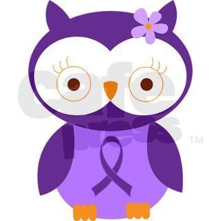 Purple Ribbon Awareness Owl Round Sticker by mainstreetshirt