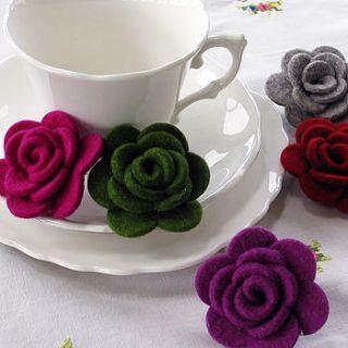 wool felt rose brooch by donna smith designs