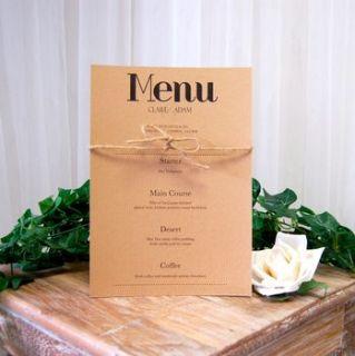 vintage print wedding breakfast menu by made with love designs ltd