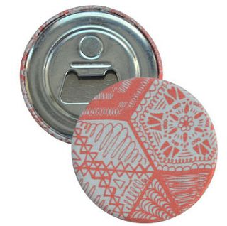 magnetic bottle opener   hexie doodle coral by grace & favour home