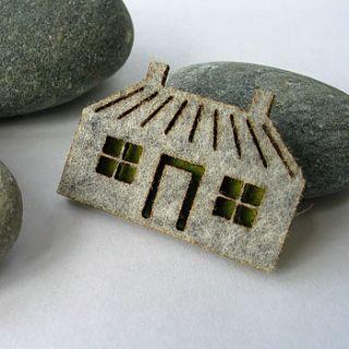 wool felt house brooch by donna smith designs