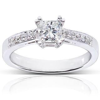 Annello   Anillo de compromiso de oro blanco 14 K con diamante de 5/8 ct peso total (H I, I1 I2) Annello Engagement Rings