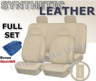 Full Set Pu Cream LEATHER Universal Synthetic 11pc Car Seat Covers WHITE Color Free Bonus Steering Wheel & Shoulder Pads Automotive