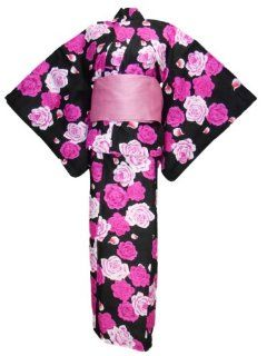 myKimono Women's Traditional Japanese Kimono Robe Yukata(pink rose)241 with Obi Belt Toys & Games