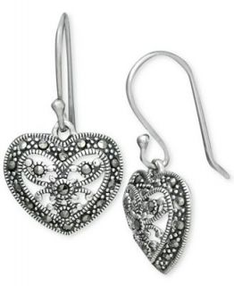 Genevieve & Grace Sterling Silver, Marcasite Filigree Heart Earrings   Earrings   Jewelry & Watches