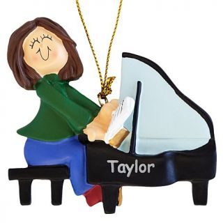 Personal Creations Brunette Female Musician Ornaments   Piano