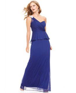 Xscape Dress, Sleeveless One Shoulder Peplum Gown   Dresses   Women