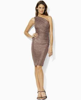 Lauren by Ralph Lauren Dress, One Shoulder Metallic Sheath   Dresses   Women