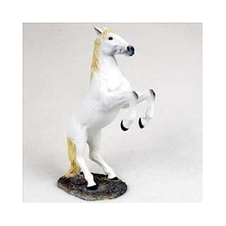 White Horse Rearing Figurine  Collectible Figurines