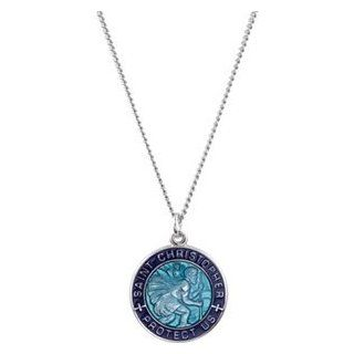 Blue Saint Christopher Round Enameled Solid Sterling Silver Protect Us Necklace 19.00 MM: Pendant Necklaces: Jewelry