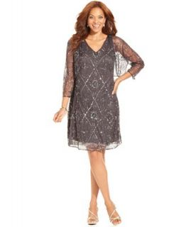 Patra Plus Size Dress and Jacket, Sleeveless Contrast Lace ...