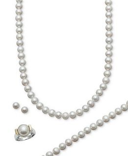 Belle de Mer Pearl Jewelry Set, 14k Gold and Sterling Silver Cultured Freshwater Pearl Necklace, Bracelet, Ring, and Stud Earring Set   Jewelry & Watches