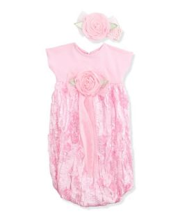 Tea Rose Sack Dress w/Headband Set, 0 3 Months