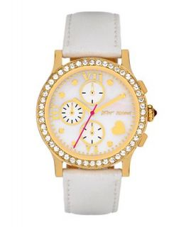 Betsey Johnson Watch, Womens Chronograph White Leather Strap BJ00005 06   Watches   Jewelry & Watches