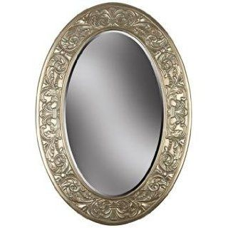 """Champagne Silver and Gold Oval 40"""" High Wall Mirror   Wall Mounted Mirrors"""