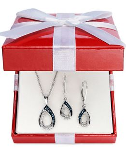 Sterling Silver Jewelry Set, Blue and White Diamond Pendant and Earrings (1/4 ct. t.w.)   Jewelry & Watches