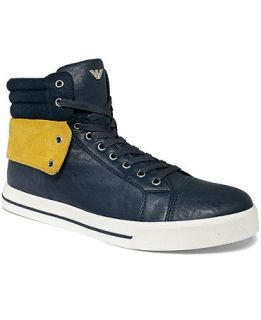 Armani Jeans Leather Hi Top Sneakers   Shoes   Men