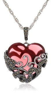 "Sterling Silver Oxidized Marcasite and Garnet Colored Glass Filigree Heart Pendant Necklace, 18"": Jewelry"