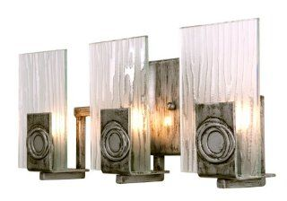 Varaluz 182B03 Polar 3 Light Bath Light, Blackened Silver Finish with Ice Crystal Recycled Glass Shades, 15 3/4 Inch by 6 3/4 Inch by 3 Inch   Vanity Lighting Fixtures