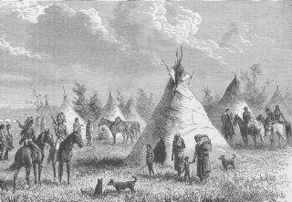 USA Village of Prairie Indians, antique print 1890