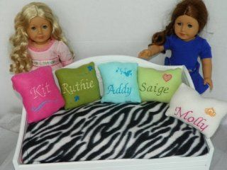 "Monogrammed Lime Green Fleece Pillow Fits Doll Bed 18"" Doll for American Girl Doll Saige: Everything Else"